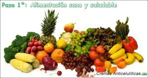 Frutas y verduras, alimentación sana y saludable, efectivo para eliminar celulitis