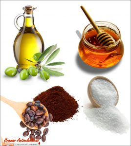 crema casera anticelulitica miel, aceite y cafe con sal o azucar
